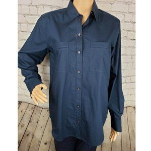 Club Monaco Navy Ladder Stitch Button Down